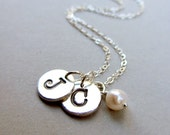 Initial Necklace Silver Personalized Charm Sterling Silver Fine Silver Handstamped Monogram