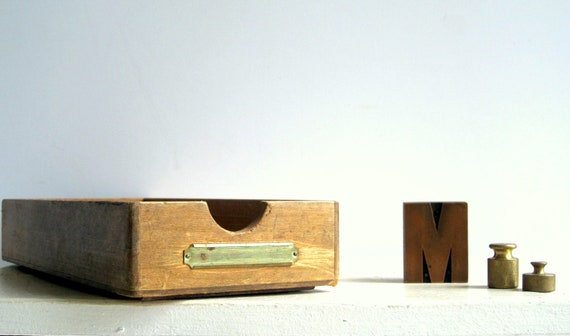 Vintage Office Wood Tray  Brass Label Holder  / Industrial Home