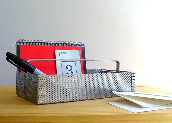 Vintage Industrial Home Office Supply Organizer / Metal Storage / Desk Accessories