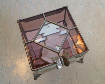 Amethyst Stained Glass Jewelry Box with Bevels and Butterfly Handle or Your Choice of Handle and Lid Colors, Hand Made