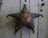 Primitive Fall Autumn Halloween Black Star JOL Hanging.  Private Listing Only