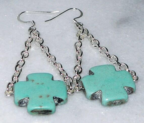 SHOP CLOSING SALE - Turquoise Cross Earrings, Blue Dangle, Silver Chain Swiss Cross Jewelry
