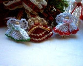Choir of 3 Mini-Clothespin Angel Ornaments Crochet Thread Art Handmade New