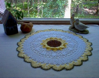 Sunflower Crochet Lace Thread Art  Doily New Handmade