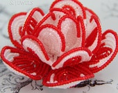 red and white beaded flower hair clip, French beaded flower, Royalty collection