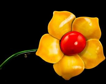 Enamel Brooch Yellow Flower Brooch Original by Robert Vintage