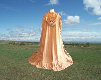 Tan Camel Faux Suede Hooded Cloak - Cape - Medieval Renaissance Wedding - Halloween Costume