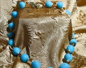 Vintage Robins Egg Blue Glass Necklace