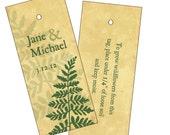 Wedding gift tags, plantable tags, favor tags, fern leaves tag, rustic wedding favor, ferns wedding favor, seeded favor hang tag, set of 25