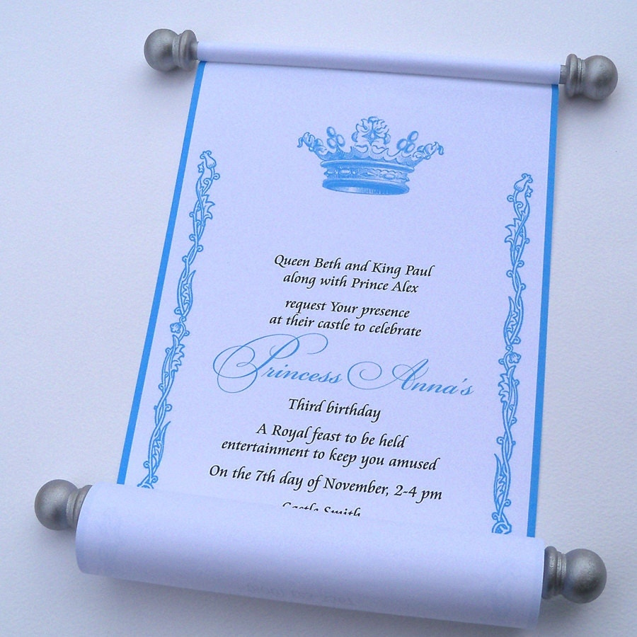 Princess Birthday Party Invitation Scroll With By