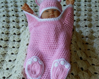 Newborn Crocheted Pink and White Baby Bear Cocoon Papoose With Matching Hat Photo Prop