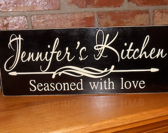 Personalized kitchen sign, Seasoned with Love,  kitchen decor, kitchen wall decor, custom kitchen sign, wood sign, wooden sign, kitchen art