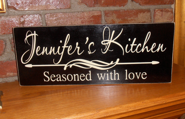 Personalized Kitchen Sign Seasoned With Love Kitchen Decor Kitchen Wall Decor Custom
