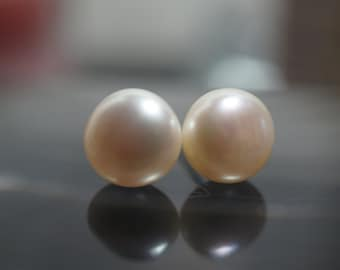 CLEARANCE - Limited Time 75 PERCENT OFF Sweet and Simple 925 Sterling Silver White Cultured Fresh Water Pearls Earrings 9mm - 1 pairs