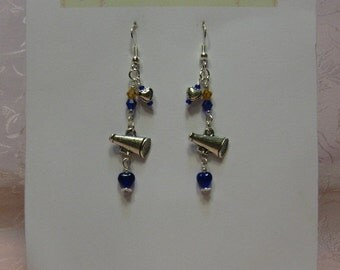 Blue and Gold Crystal, Cheerleader Megaphone Earrings