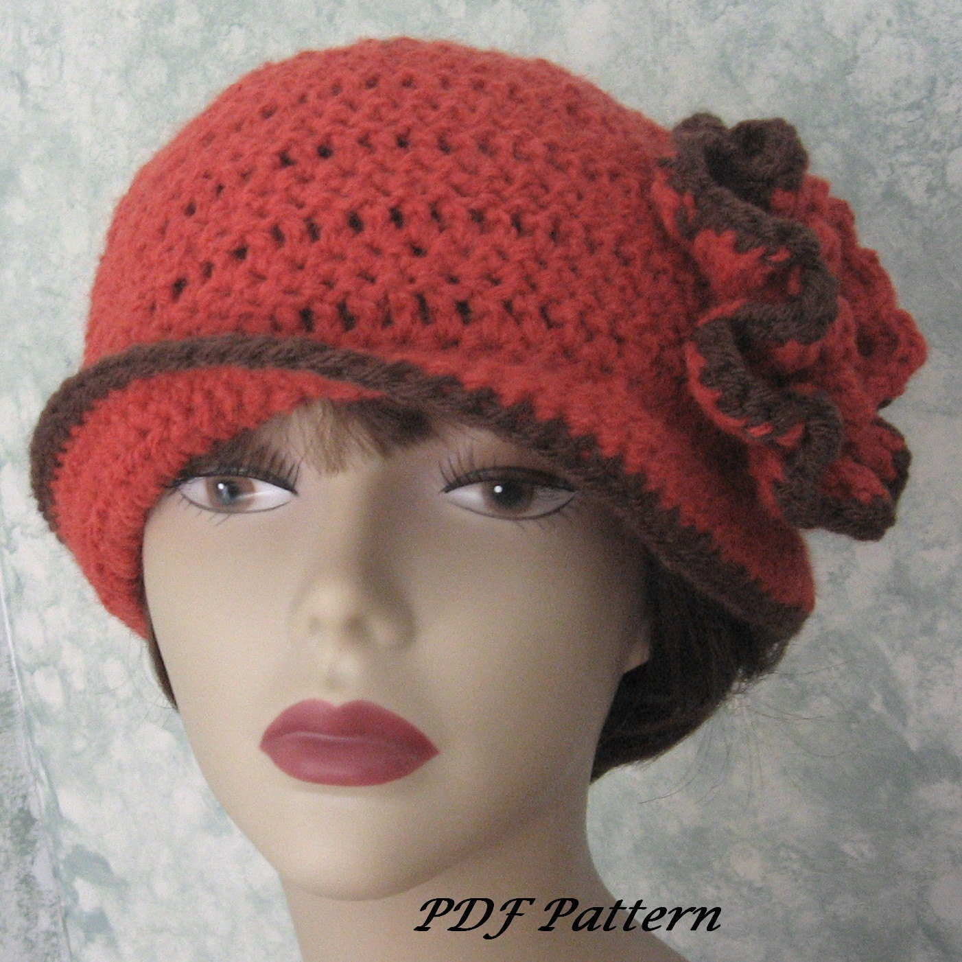 womens crochet hat pattern with flower trim easy to