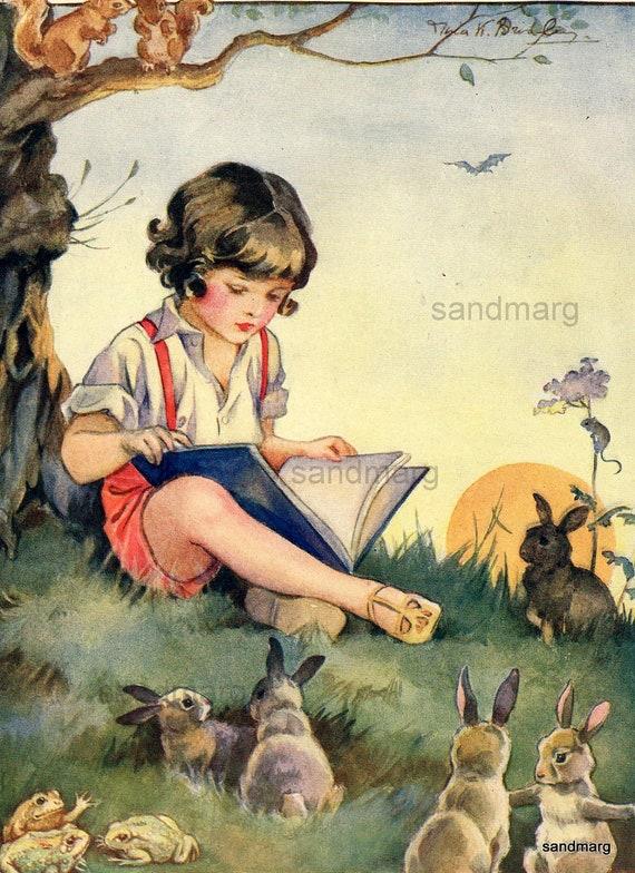 Vintage Storybook Illustration Nina K Brisley Boy Reading A