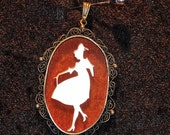 SALE Vintage Dancing Girl Mother of Pearl Cameo Style Pendant
