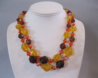 SHADES of AUTUMN - 1960s vintage Multi Strand Beaded Cocktail Necklace ... Golden Amber, Brown, and Orange