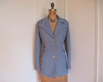 MOD SQUAD  - 1970s Black and White Fitted Blazer - British Equestrian Prep - vintage size 15/16, extra large, xl