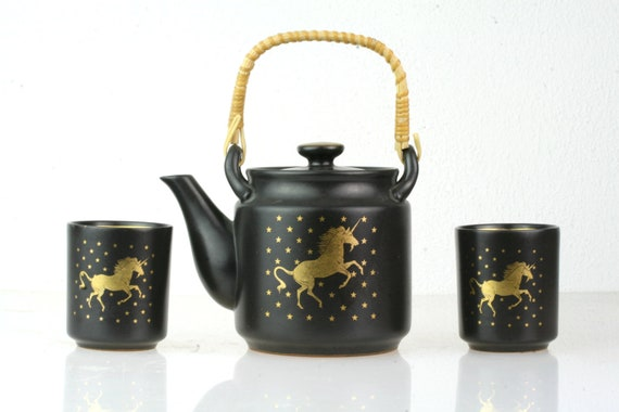 Vintage Unicorn Tea Pot and Cup Set / Black Glazed Redware