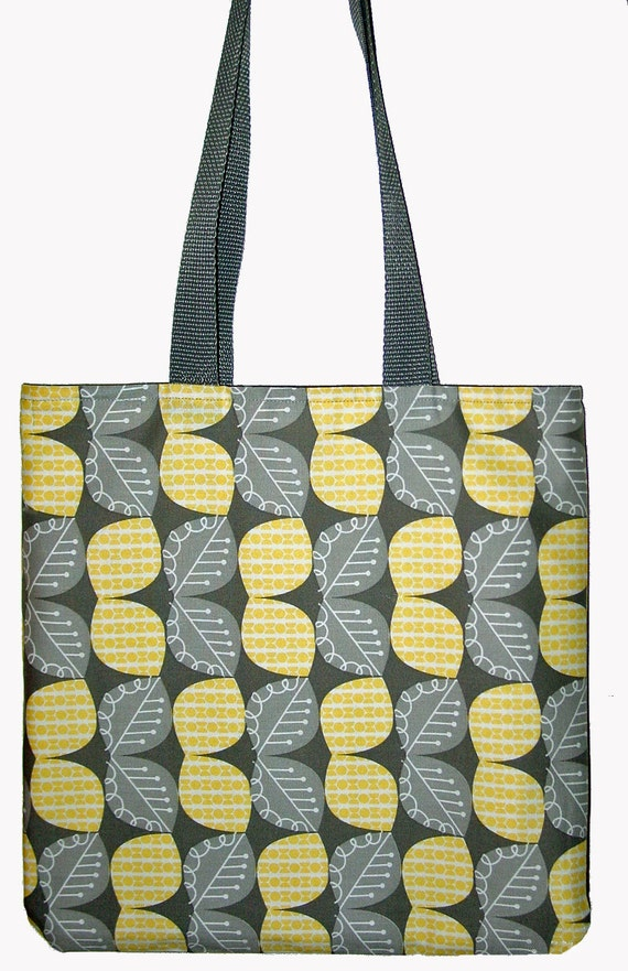 Modern Tote Bag Gray - Yellow Leaf / Houndstooth Modern Fabric  Designer Fabric Tote Bag