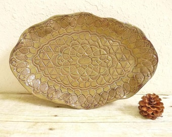 Ceramic Tray Lace Pottery Brown Rustic Serving Dish Platter