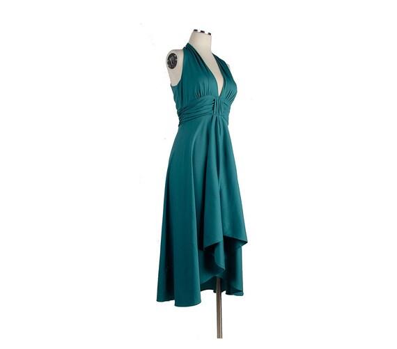 Vintage 70s Halter Disco Dress Plunging Neckline Full Skirt Teal Green Jersey