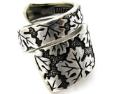 Fall Spoon Ring Wrapped Vintage  leaf Pattern From 1968