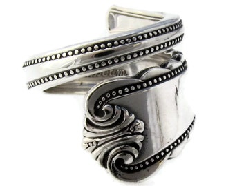 Moonbeam Pattern Wrapped Spoon Ring Sterling Silver