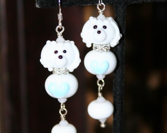White Maltese Malitpoo Poodle SRA Lampwork DeSIGNeR EaRrINgS Sterling Silver 50s maltipoo puppy dog akc