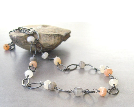 Reserved for Isabel  -   handmade metalwork necklace, moonstone and silver necklace with torch fused links and semi precious gems
