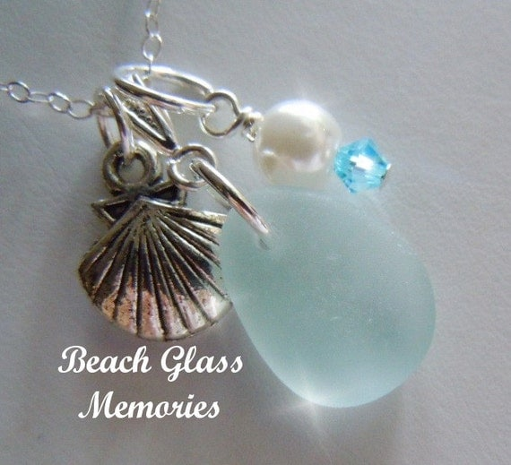Aqua Sea Glass Necklace -   Beach Glass Necklace Seaglass Jewelry Sea Shell Necklace