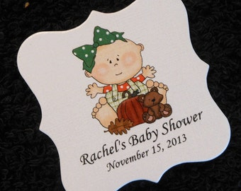 Personalized Baby Girl Baby Shower Favor Tags, Baby Girl With Pumpkin And Teddy Bear, Set Of 40 2 x 2 Girl Shower Tags