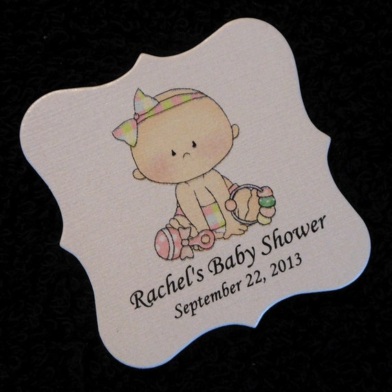 personalized baby shower favor tags baby girl with toys set of 20