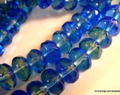 25 Czech Glass Beads 7x5mm Fire Polished Faceted Blue Green Rondelle - 25 pc - G6036-BG25