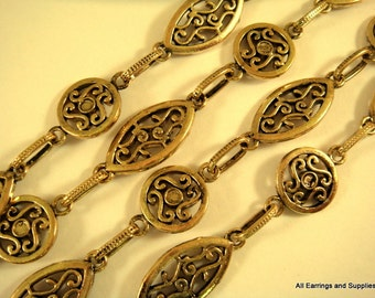 38in Antique Gold Chain Handmade Oval and Round Scrolls Textured Chain Not Soldered - 3 ft - STR9035CH-AG38