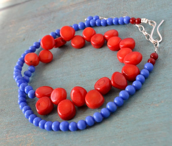 Inspired by Frida Kahlo necklace with lipstick red coral and king's blue glass stones.