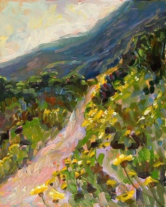 Hiking Trail with Yellow Daisies, Landscape Oil Painting, Original, Impressionist, Pacific Southwest, Home Decor, Fine Art 10 x 8