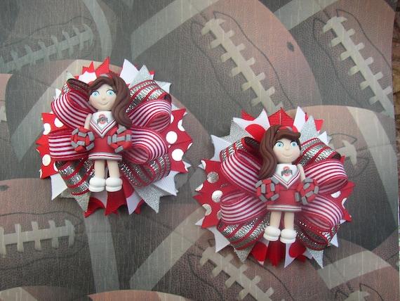 Custom Ohio State Cheerleader Girl Hair bows