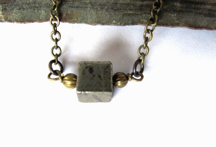 Cube Bead Necklace Pyrite Crystal Simple Fool's Gold Brass