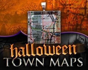 Sleepy Hollow, New York Map Pendant