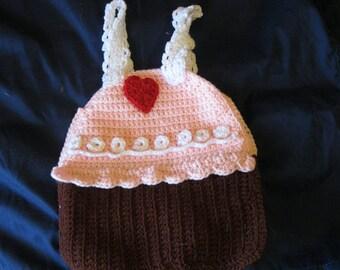 Hand Crocheted Cupcake Halloween Treat Bag Tote Overnight Bag Book Bag Purse Christmas Present Gift Stocking Stuffer Birthday Valentines Day