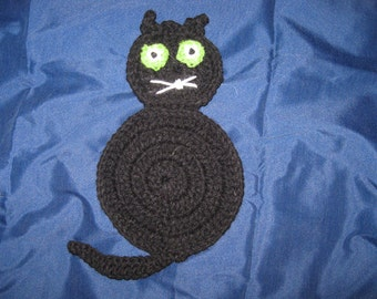 Hand Crocheted Black Cat Hot Pad Potholder Kitchen Fall Halloween