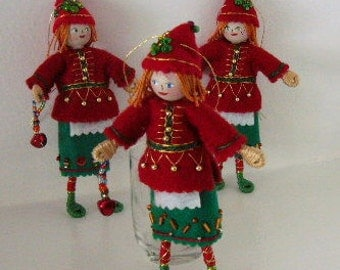 Handmade Felt Art Doll  - Christmas Elf Hanging Ornament - Christmas Holiday Decoration