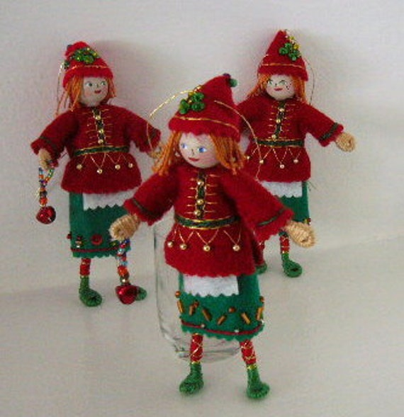 Felt Art Doll  - Christmas Elf Hanging Ornament - Christmas Holiday Decoration