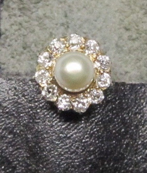 RESERVED Minnie Pearl Gold and Diamond Cluster Stick Pin with High Luster Pearl Center