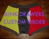 JUNK DRAWERS tm Made to Order Boxer Brief you pick the style size colors and I will make em
