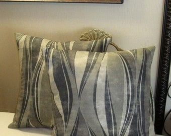 """Pillow Covers ONLY - Set of Two 14""""x14"""" Covers - Multi Color Grey, Black, Tan, Beige  - Item PLW-511271"""