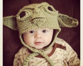 Crochet NEWBORN Yoda EarFlap Hat Made to Order